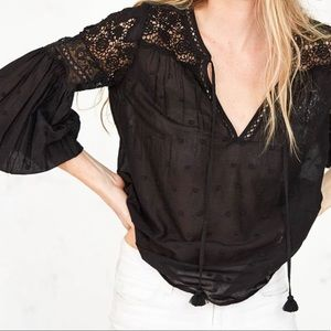 LoveShackFancy Prairie Peasant Top - Black
